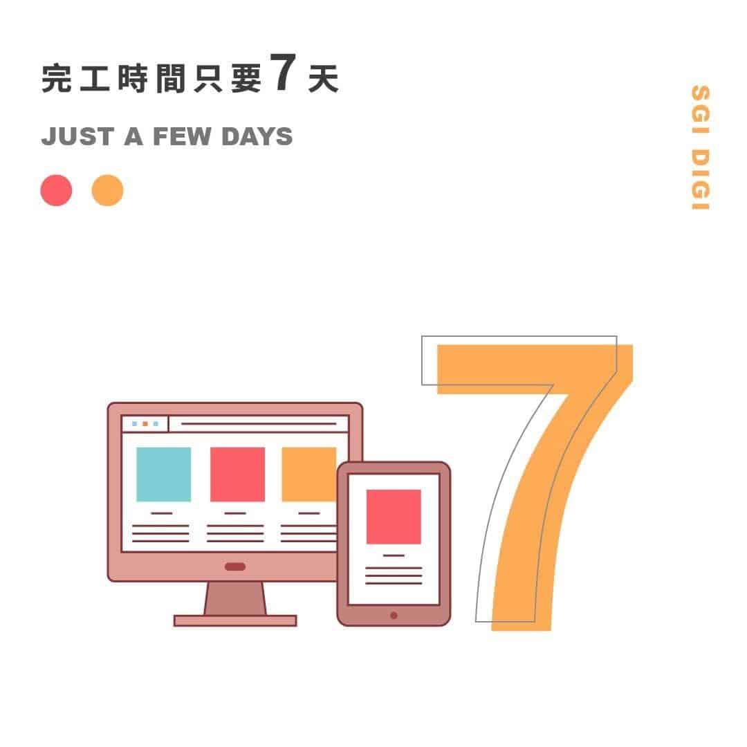 網站製作完成只要7天就可以上線